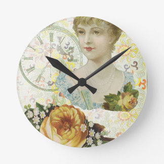 Victorian Woman Pocket Watch Yellow Rose Round Clock