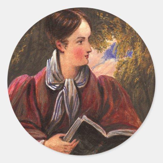 Victorian Woman Reader - Book Club, Bibliophile Classic Round Sticker