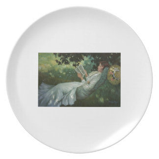 Victorian Woman Reading A Book Dinner Plate
