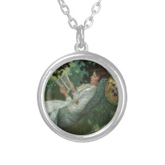 Victorian Woman Reading A Book Silver Plated Necklace