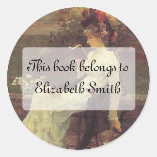 Victorian Woman Reading V2 Classic Round Sticker