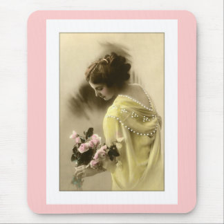 victorian woman roses, romantic mouse pad
