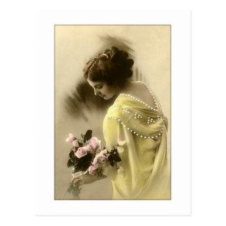 victorian woman roses, romantic postcard