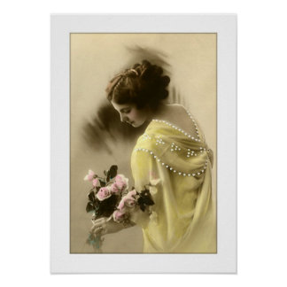 victorian woman roses, romantic poster