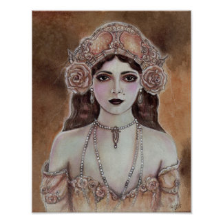 Victorian woman sepia colored poster by Renee