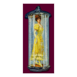 Victorian Woman Standing in a Glass Jar Posters