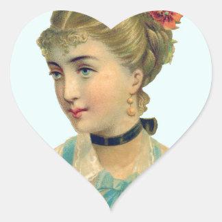 Victorian Woman Teal Heart Sticker