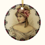 Victorian Woman Vintage Christmas Ornament