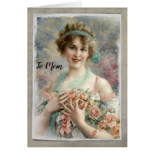 Victorian Woman w/ Roses on Watercolor Card