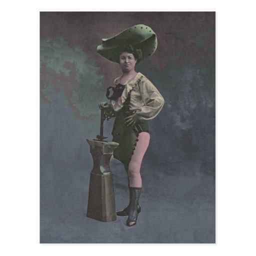 Victorian Woman with Anvil Showing Legs Post Card