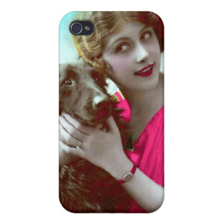 Victorian Woman with Dog iPhone Case iPhone 4/4S Cases