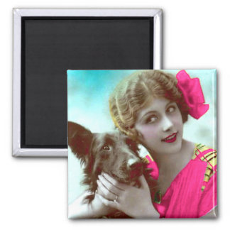 Victorian Woman with Dog Magnet