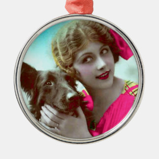 Victorian Woman with Dog Ornament