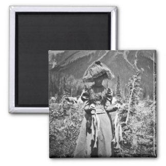 Victorian Woman with Fish Vintage Glass Slide 2 Inch Square Magnet