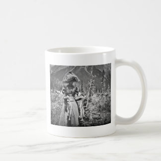 Victorian Woman with Fish Vintage Glass Slide Coffee Mug