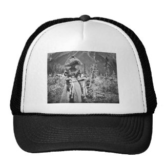 Victorian Woman with Fish Vintage Glass Slide Trucker Hat