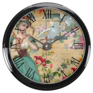 Victorian Woman with her Cockatoos Aquavista Clock