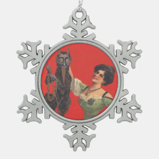 Victorian Woman With Krampus Snowflake Pewter Christmas Ornament