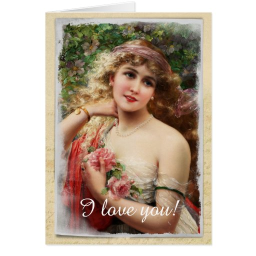 Victorian Woman with Pink Roses Greeting Card