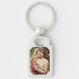 Victorian Woman with Pink Roses Metal Keychain