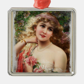 Victorian Woman with Pink Roses Ornament