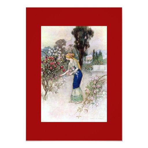 """Victorian Women In Garden Invitation 4.5"""" X 6.25"""" Invitation Card"""