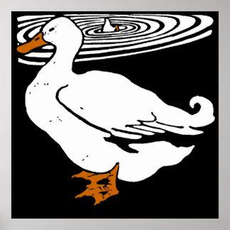 Victorian Woodcut Farm Animals Ducks Poster