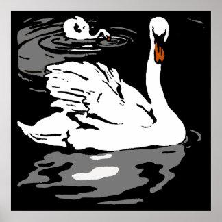 Victorian Woodcut Farm Animals Swans Poster