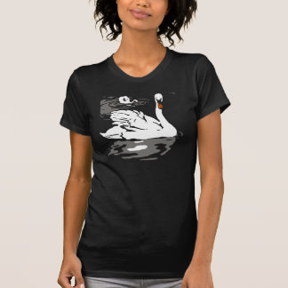 Victorian Woodcut Swans On T Shirt
