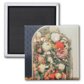Victorian woollen flowers in a glass case 2 inch square magnet
