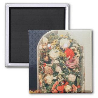 Victorian woollen flowers in a glass case fridge magnet