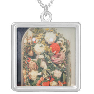 Victorian woollen flowers in a glass case silver plated necklace