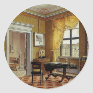 Victorian Yellow room with window Classic Round Sticker