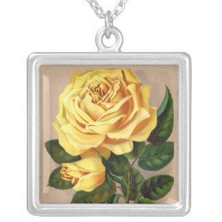Victorian Yellow Rose Square Pendant Necklace