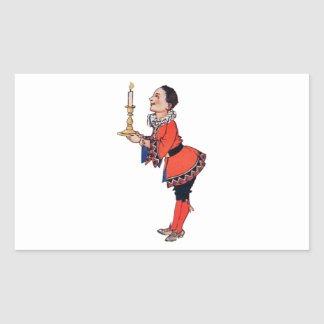 Victorian Young Boy Holding Candle Rectangular Sticker