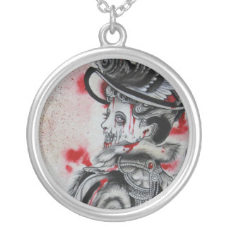 """Victorian Zombie"" Round Pendant Necklace"