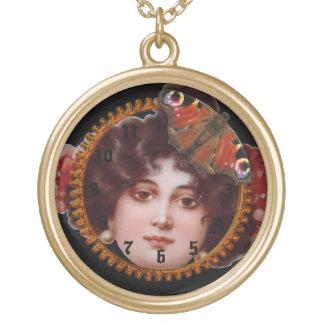 Victoriana Vixen Steampunk Collage Clockwork Gear Gold Plated Necklace