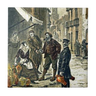 Victorians en el ejemplo del vintage del mercado azulejo cuadrado pequeño
