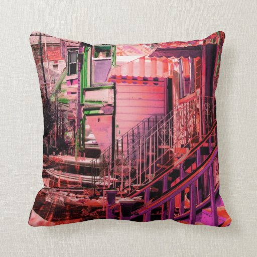 victorians life - mission district San francisco Throw Pillow
