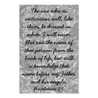 Victorious bible verse Revelations 3:5 Poster
