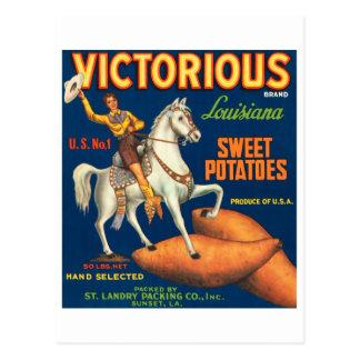 Victorious Brand Louisiana Sweet Potatoes Vintage  Postcard