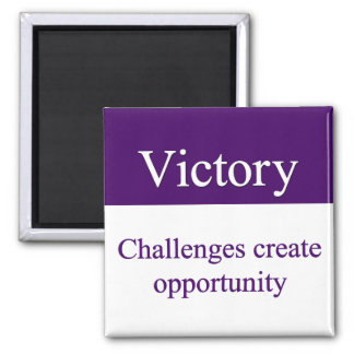 Victorious over challenges 2 inch square magnet
