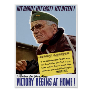 Victory Begins At Home -- Bull Halsey Poster