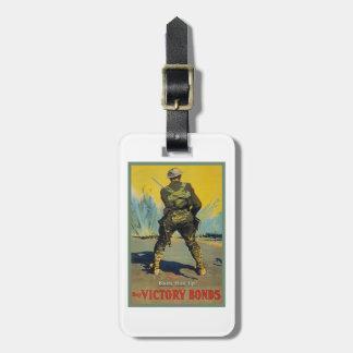 Victory Bonds Back Him Up WWI Propaganda WW1 Bag Tag