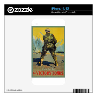 Victory Bonds Back Him Up WWI Propaganda WW1 Decals For iPhone 4S