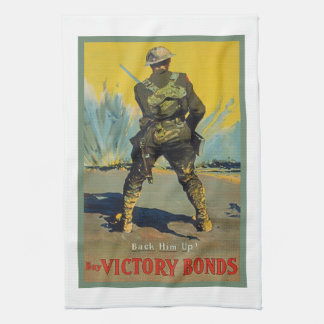 Victory Bonds Back Him Up WWI Propaganda WW1 Kitchen Towel