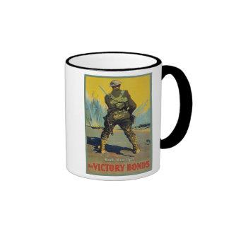 Victory Bonds Back Him Up WWI Propaganda WW1 Ringer Coffee Mug