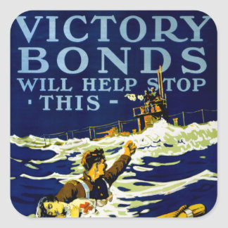 Victory Bonds Will Help Stop This Square Sticker