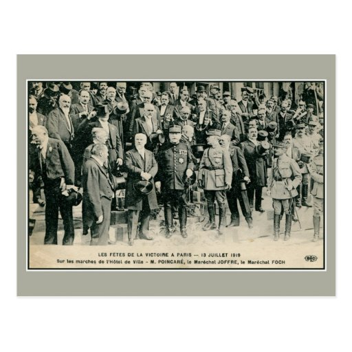 Victory celebrations in Paris Foch and Joffre Post Card