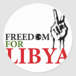 Victory & Freedom for Libya Round Stickers